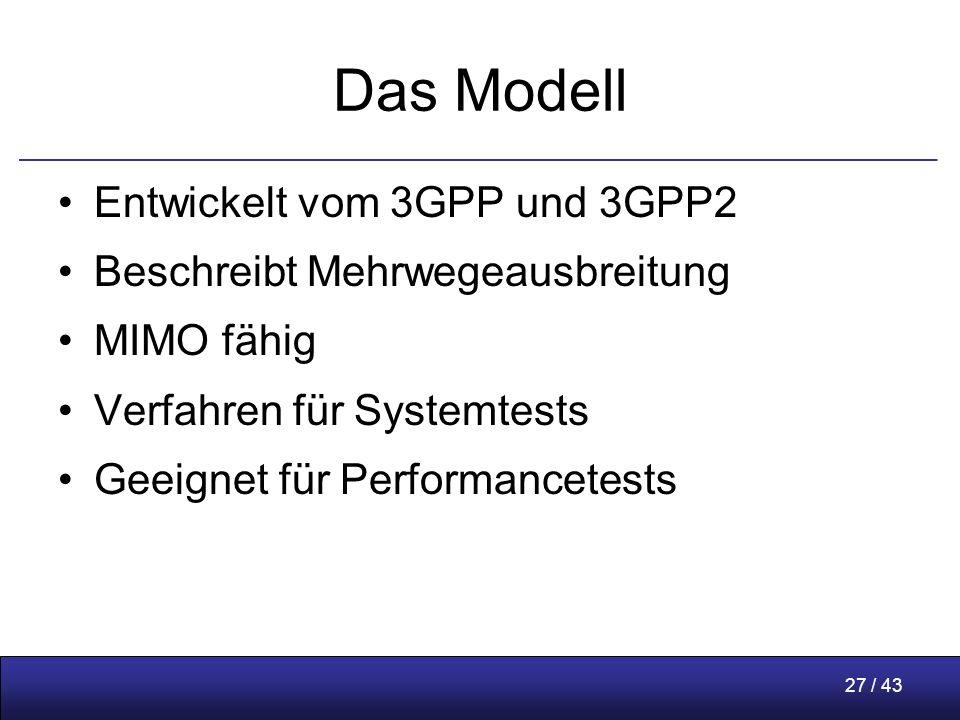 27 / 43 Das Modell Entwickelt vom 3GPP und 3GPP2 Beschreibt Mehrwegeausbreitung MIMO fähig Verfahren für Systemtests Geeignet für Performancetests