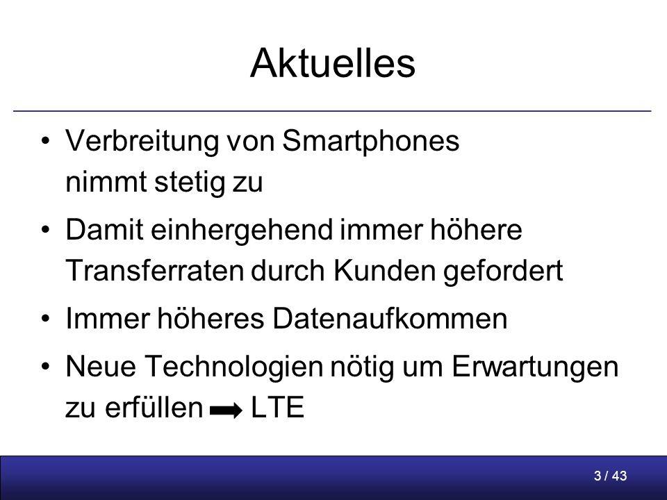 3 / 43 Aktuelles Verbreitung von Smartphones nimmt stetig zu Damit einhergehend immer höhere Transferraten durch Kunden gefordert Immer höheres Datenaufkommen Neue Technologien nötig um Erwartungen zu erfüllen LTE