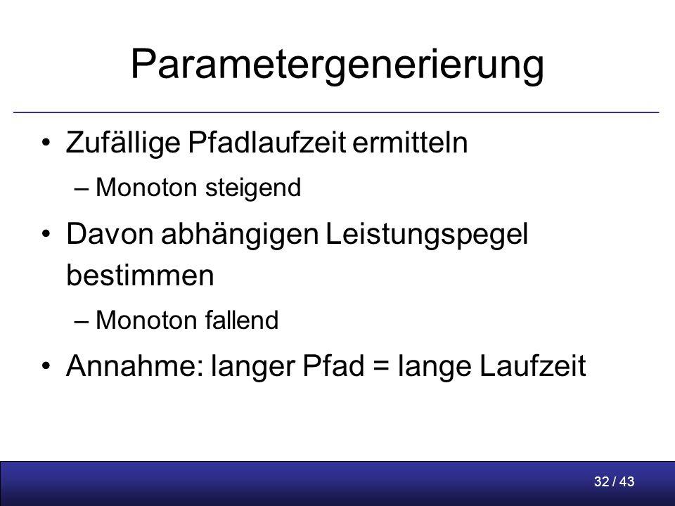 32 / 43 Parametergenerierung Zufällige Pfadlaufzeit ermitteln –Monoton steigend Davon abhängigen Leistungspegel bestimmen –Monoton fallend Annahme: langer Pfad = lange Laufzeit