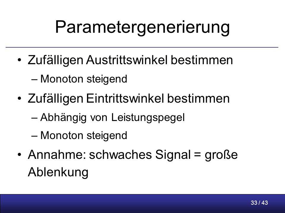 33 / 43 Parametergenerierung Zufälligen Austrittswinkel bestimmen –Monoton steigend Zufälligen Eintrittswinkel bestimmen –Abhängig von Leistungspegel –Monoton steigend Annahme: schwaches Signal = große Ablenkung