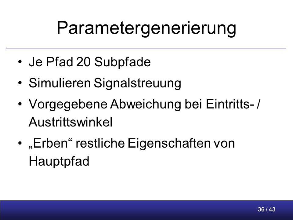 """36 / 43 Parametergenerierung Je Pfad 20 Subpfade Simulieren Signalstreuung Vorgegebene Abweichung bei Eintritts- / Austrittswinkel """"Erben restliche Eigenschaften von Hauptpfad"""