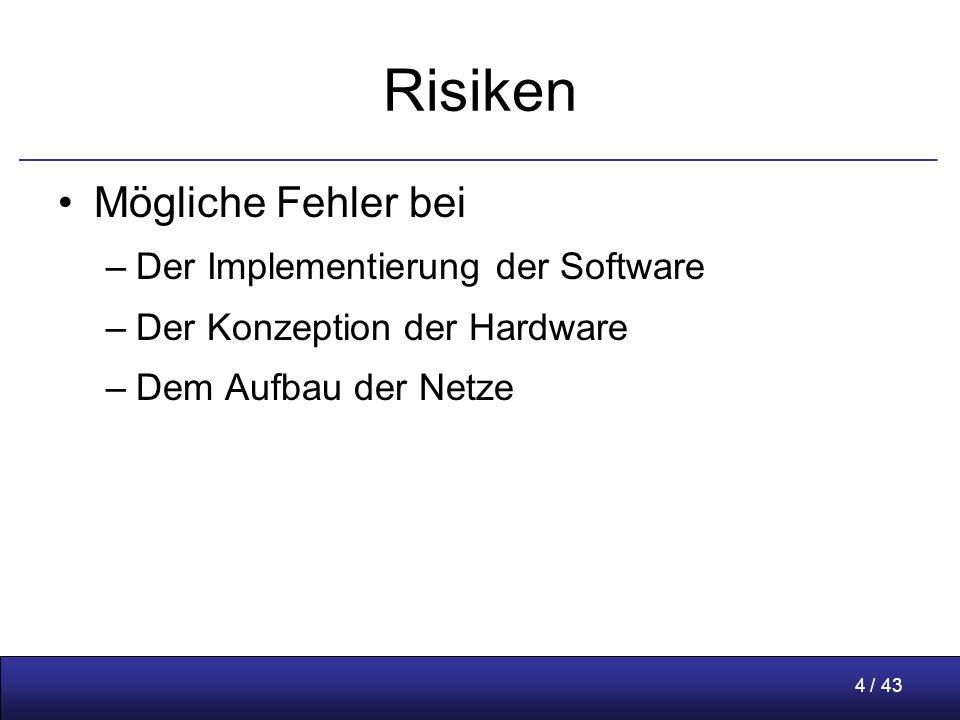 4 / 43 Risiken Mögliche Fehler bei –Der Implementierung der Software –Der Konzeption der Hardware –Dem Aufbau der Netze
