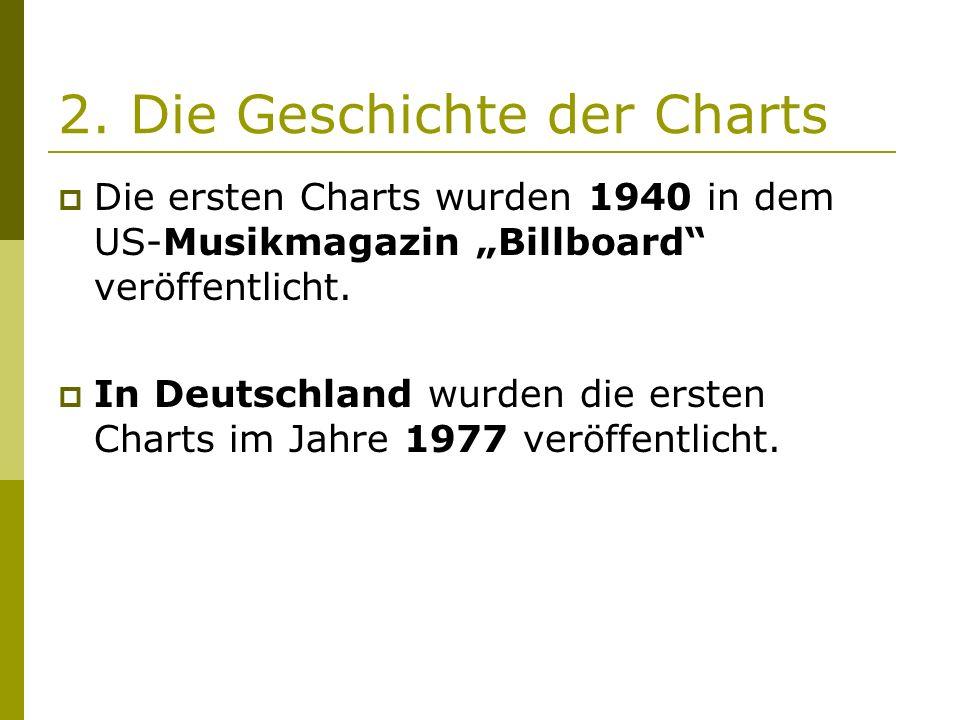 """2. Die Geschichte der Charts  Die ersten Charts wurden 1940 in dem US-Musikmagazin """"Billboard"""" veröffentlicht.  In Deutschland wurden die ersten Cha"""