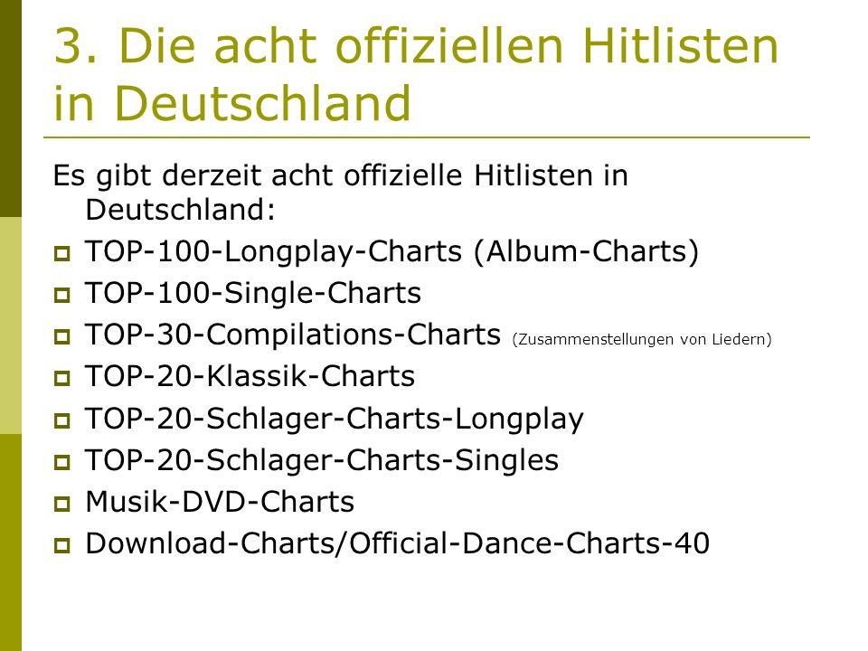 3. Die acht offiziellen Hitlisten in Deutschland Es gibt derzeit acht offizielle Hitlisten in Deutschland:  TOP-100-Longplay-Charts (Album-Charts) 