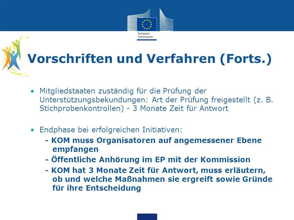 Vorschriften und Verfahren (Forts.) Mitgliedstaaten zuständig für die Prüfung der Unterstützungsbekundungen: Art der Prüfung freigestellt (z.