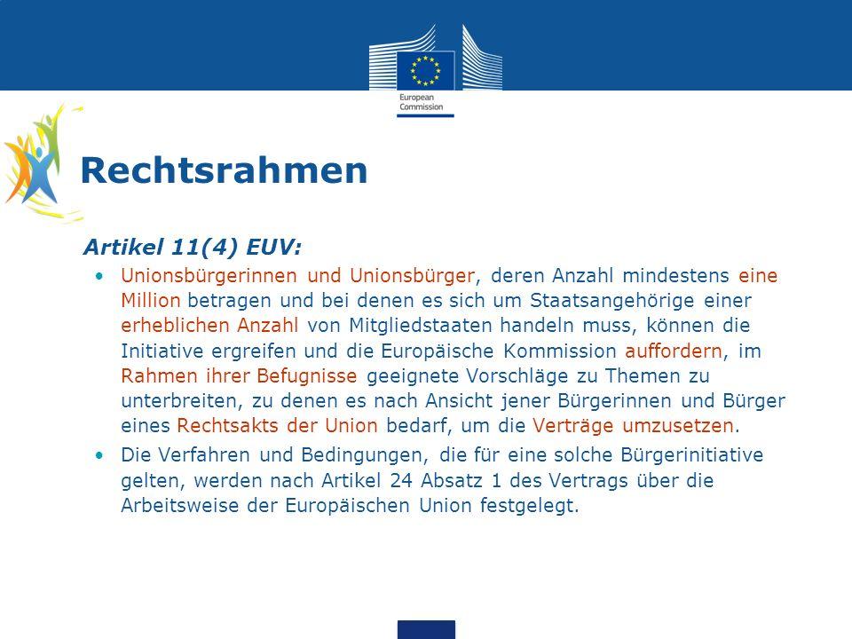Rechtsrahmen (Forts.) Artikel 24, erster Unterabsatz, AEUV: Die Bestimmungen über die Verfahren und Bedingungen, die für eine Bürgerinitiative im Sinne des Artikels 11 des Vertrags über die Europäische Union gelten, einschließlich der Mindestzahl der Mitgliedstaaten, aus denen die Bürgerinnen und Bürger, die diese Initiative ergreifen, kommen müssen, werden vom Europäischen Parlament und vom Rat gemäß dem ordentlichen Gesetzgebungsverfahren durch Verordnungen festgelegt.