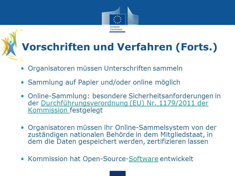 Vorschriften und Verfahren (Forts.) Organisatoren müssen Unterschriften sammeln Sammlung auf Papier und/oder online möglich Online-Sammlung: besondere Sicherheitsanforderungen in der Durchführungsverordnung (EU) Nr.