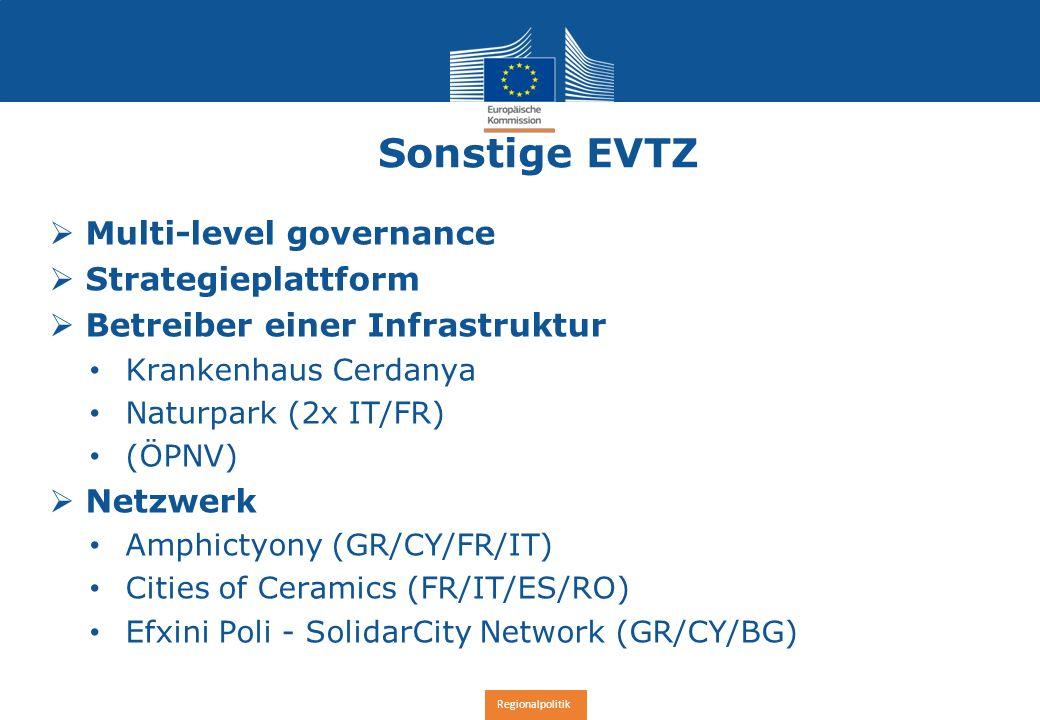 Regionalpolitik Sonstige EVTZ  Multi-level governance  Strategieplattform  Betreiber einer Infrastruktur Krankenhaus Cerdanya Naturpark (2x IT/FR) (ÖPNV)  Netzwerk Amphictyony (GR/CY/FR/IT) Cities of Ceramics (FR/IT/ES/RO) Efxini Poli - SolidarCity Network (GR/CY/BG)