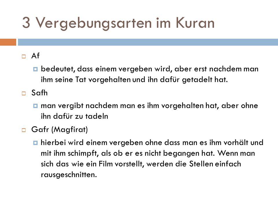 3 Vergebungsarten im Kuran  Af  bedeutet, dass einem vergeben wird, aber erst nachdem man ihm seine Tat vorgehalten und ihn dafür getadelt hat.