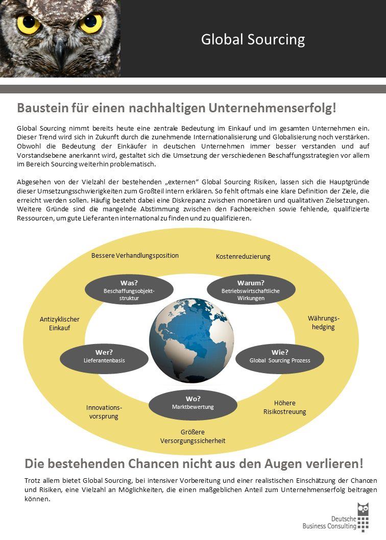 Global Sourcing Baustein für einen nachhaltigen Unternehmenserfolg! Global Sourcing nimmt bereits heute eine zentrale Bedeutung im Einkauf und im gesa