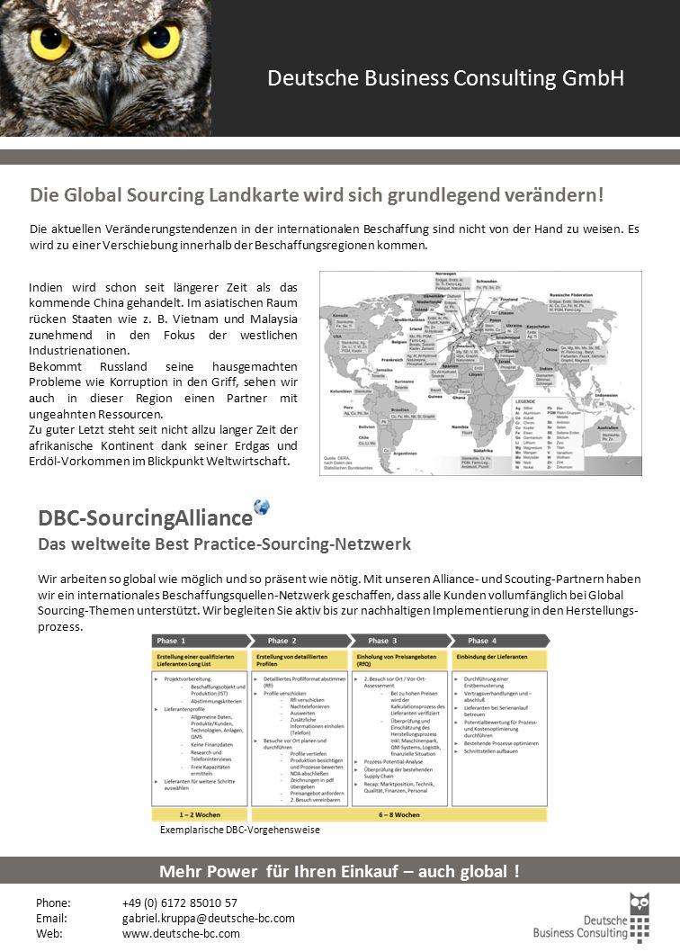 Global Sourcing Die Global Sourcing Landkarte wird sich grundlegend verändern! Die aktuellen Veränderungstendenzen in der internationalen Beschaffung