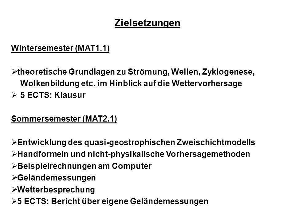 Zielsetzungen Wintersemester (MAT1.1)  theoretische Grundlagen zu Strömung, Wellen, Zyklogenese, Wolkenbildung etc.
