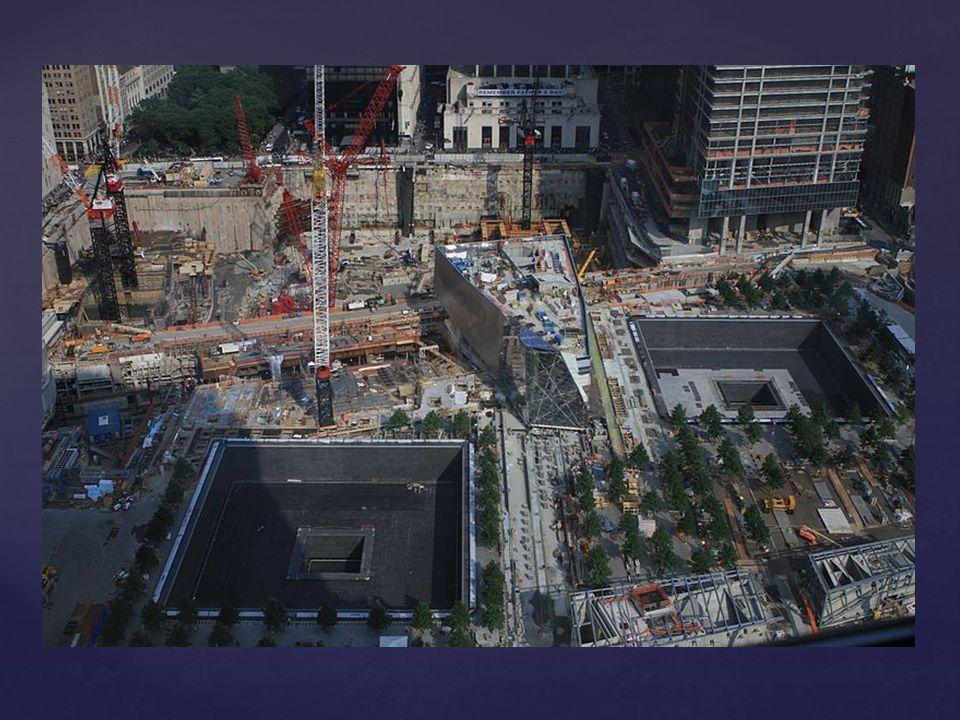 """Finanzierung: -Bau im Auftrag von der WTC Foundation und der Port Authority of New York and New Yersey durchgeführt -Non-Profit-Organisationen, die bis Mai 2006 Spenden sammelten Gestaltung & Konzept des Mahnmals: -Gedenkstätte errichtet für die 6 Opfer des Anschlags von 1993  wurde bei Anschlag 9/11 zerstört -Gedenkstätte  Erinnerung an die Opfer von 1993 & 2001 -Symbolisiert sowohl die Opfer als auch die zerstörten Gebäude -Mahnmal = Herzstück des Komplexes -An den Stellen der zerstörten Tower, sind """"Fußabdrücken gleich zwei Granitbecken"""