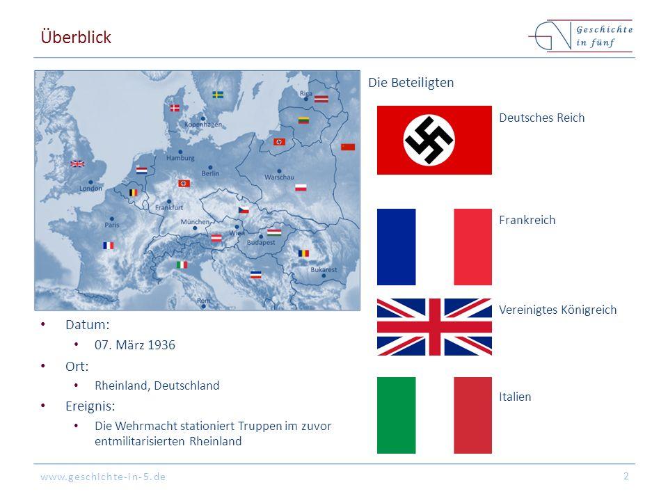 www.geschichte-in-5.de Überblick Datum: 07. März 1936 Ort: Rheinland, Deutschland Ereignis: Die Wehrmacht stationiert Truppen im zuvor entmilitarisier
