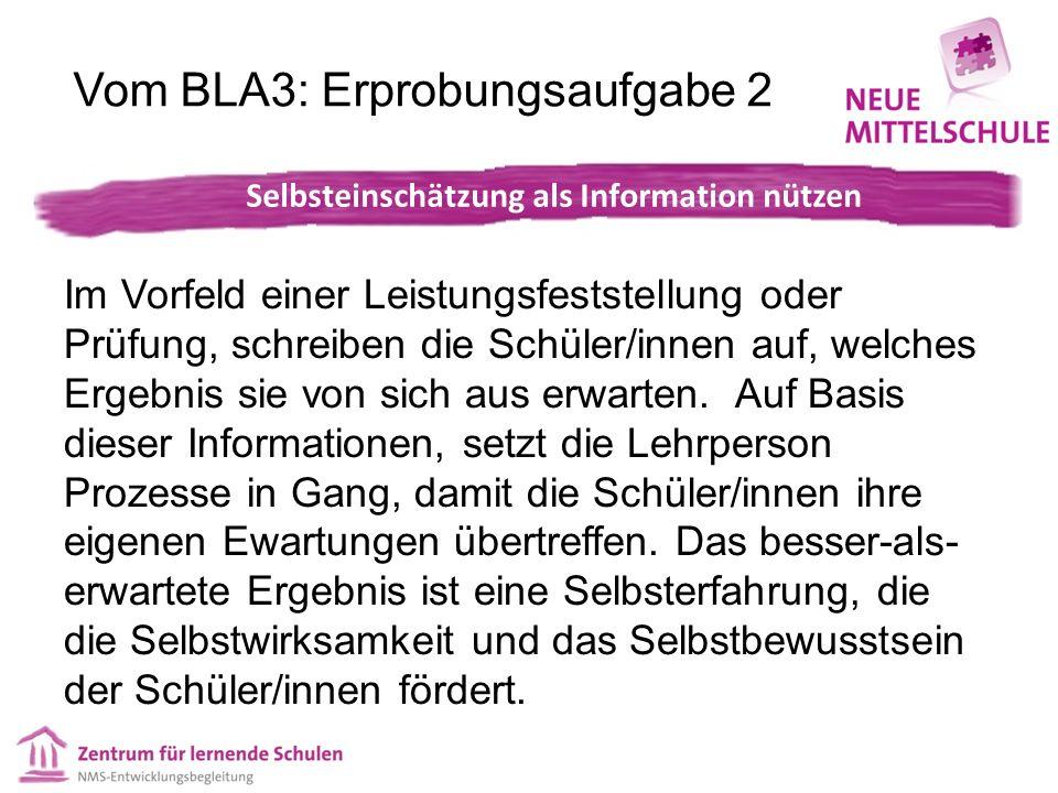 Vom BLA3: Erprobungsaufgabe 2 Im Vorfeld einer Leistungsfeststellung oder Prüfung, schreiben die Schüler/innen auf, welches Ergebnis sie von sich aus erwarten.