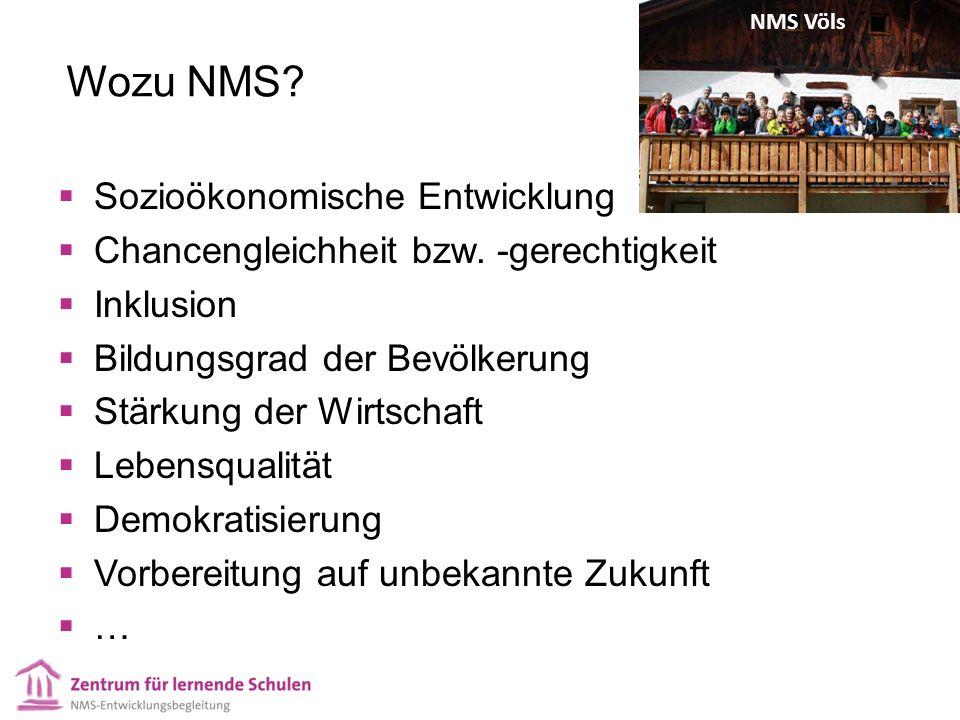 Wozu NMS.  Sozioökonomische Entwicklung  Chancengleichheit bzw.