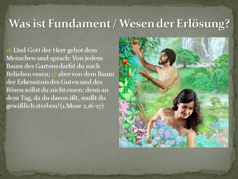 16 Und Gott der Herr gebot dem Menschen und sprach: Von jedem Baum des Gartens darfst du nach Belieben essen; 17 aber von dem Baum der Erkenntnis des