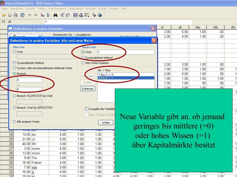 Neue Variable gibt an.