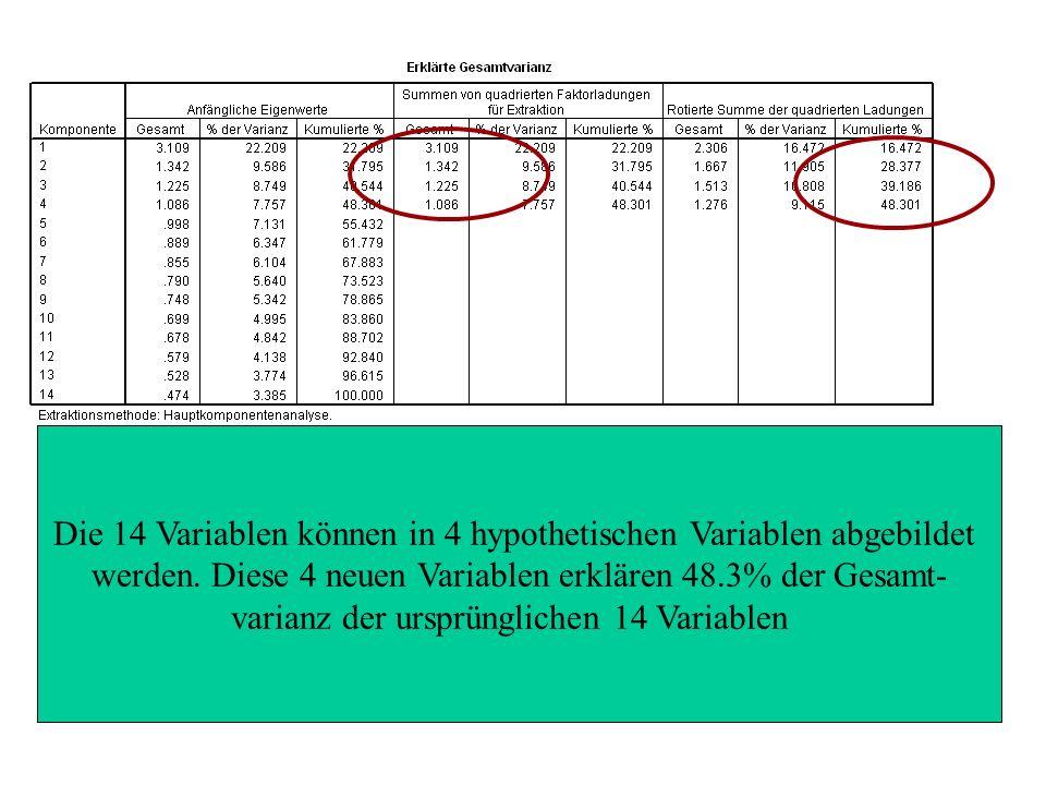 Die 14 Variablen können in 4 hypothetischen Variablen abgebildet werden.