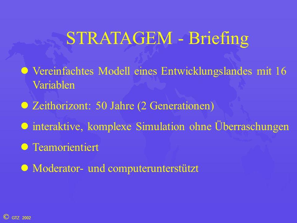 © GTZ 2002 STRATAGEM - Briefing Vereinfachtes Modell eines Entwicklungslandes mit 16 Variablen Zeithorizont: 50 Jahre (2 Generationen) interaktive, ko