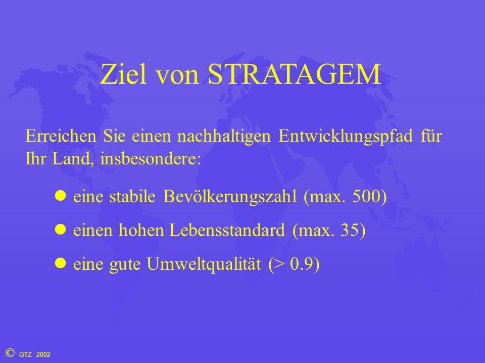 © GTZ 2002 Ziel von STRATAGEM Erreichen Sie einen nachhaltigen Entwicklungspfad für Ihr Land, insbesondere: eine stabile Bevölkerungszahl (max. 500) e