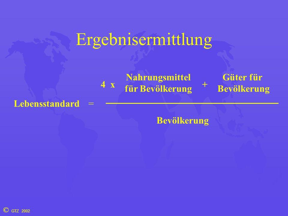 © GTZ 2002 Ergebnisermittlung Lebensstandard= 4 Nahrungsmittel für Bevölkerung Güter für Bevölkerung +x Bevölkerung