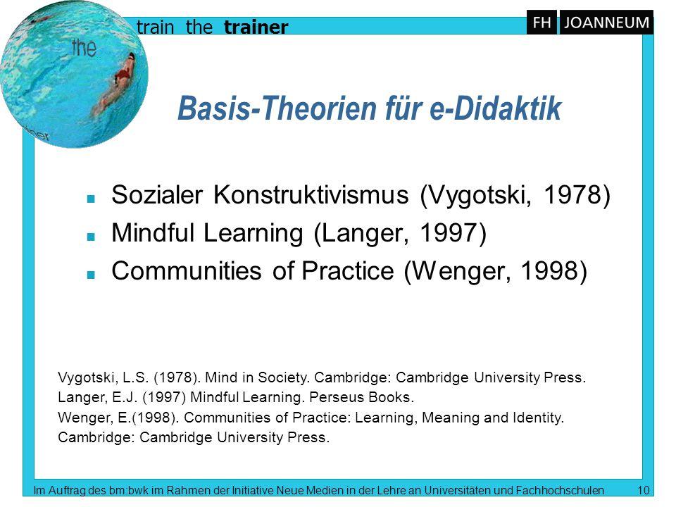 train the trainer Im Auftrag des bm:bwk im Rahmen der Initiative Neue Medien in der Lehre an Universitäten und Fachhochschulen 10 Basis-Theorien für e