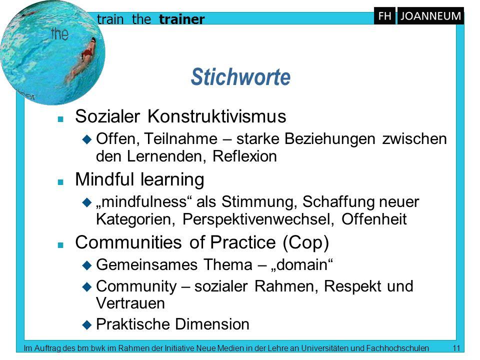 train the trainer Im Auftrag des bm:bwk im Rahmen der Initiative Neue Medien in der Lehre an Universitäten und Fachhochschulen 11 Stichworte n Soziale