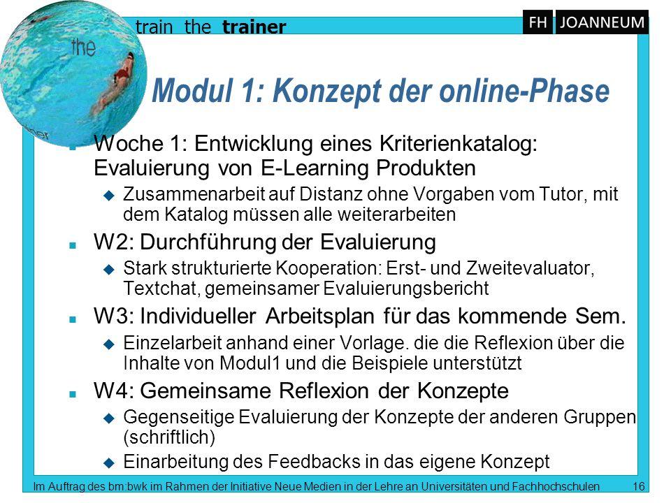 train the trainer Im Auftrag des bm:bwk im Rahmen der Initiative Neue Medien in der Lehre an Universitäten und Fachhochschulen 16 Modul 1: Konzept der