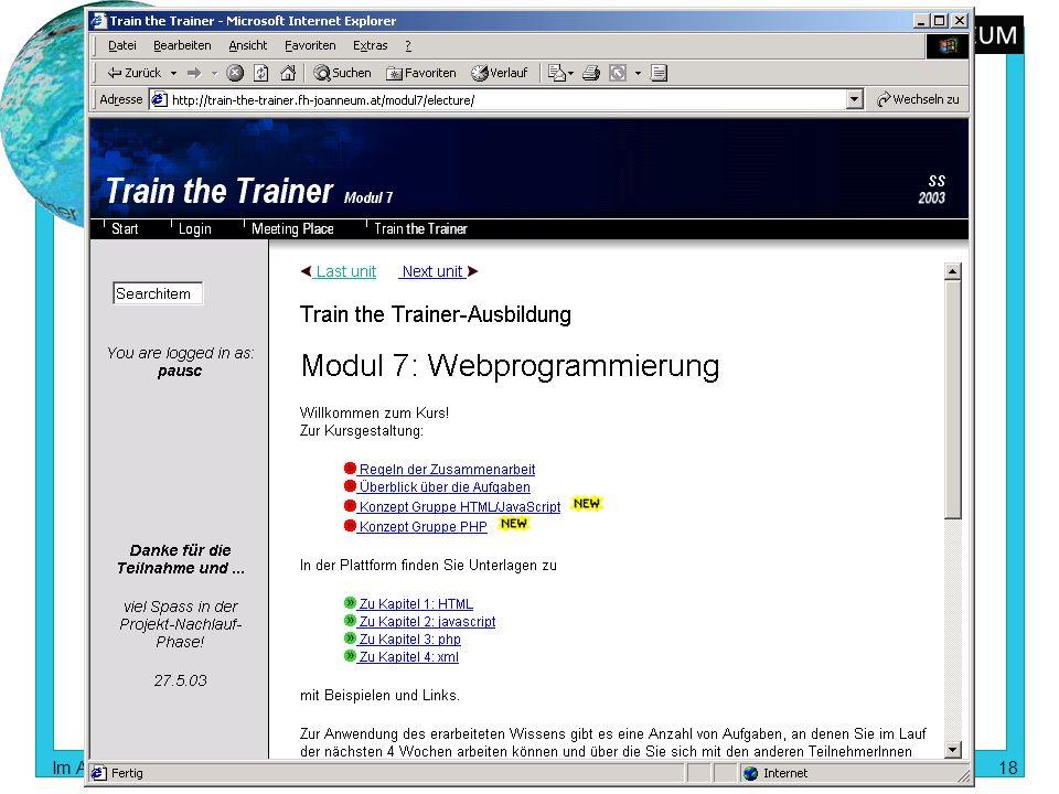 train the trainer Im Auftrag des bm:bwk im Rahmen der Initiative Neue Medien in der Lehre an Universitäten und Fachhochschulen 18