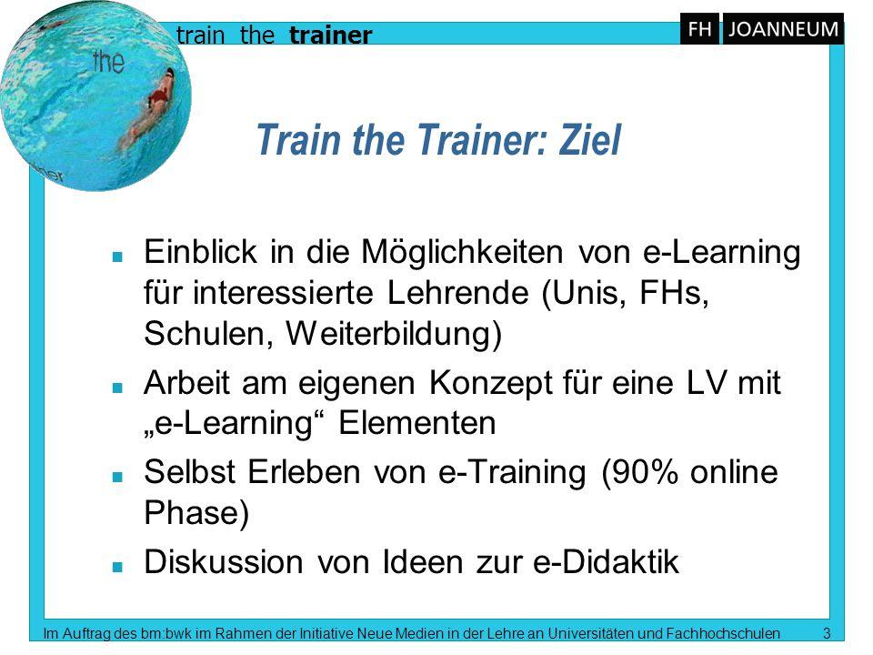 train the trainer Im Auftrag des bm:bwk im Rahmen der Initiative Neue Medien in der Lehre an Universitäten und Fachhochschulen 3 Train the Trainer: Zi