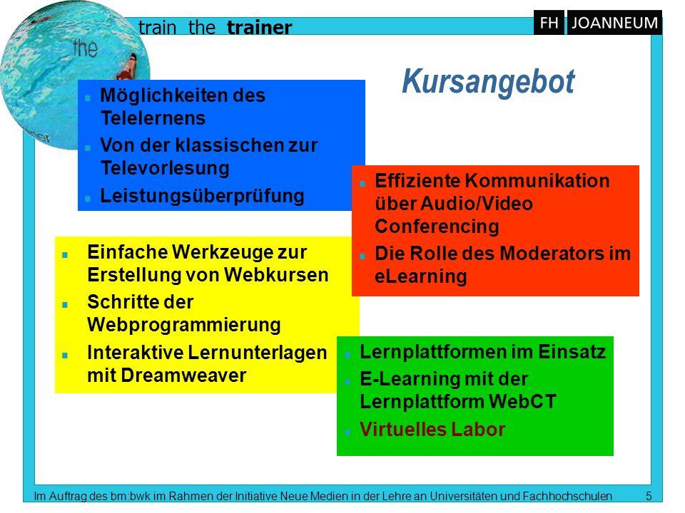 train the trainer Im Auftrag des bm:bwk im Rahmen der Initiative Neue Medien in der Lehre an Universitäten und Fachhochschulen 5 n Möglichkeiten des T