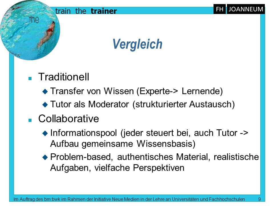 train the trainer Im Auftrag des bm:bwk im Rahmen der Initiative Neue Medien in der Lehre an Universitäten und Fachhochschulen 9 Vergleich n Tradition