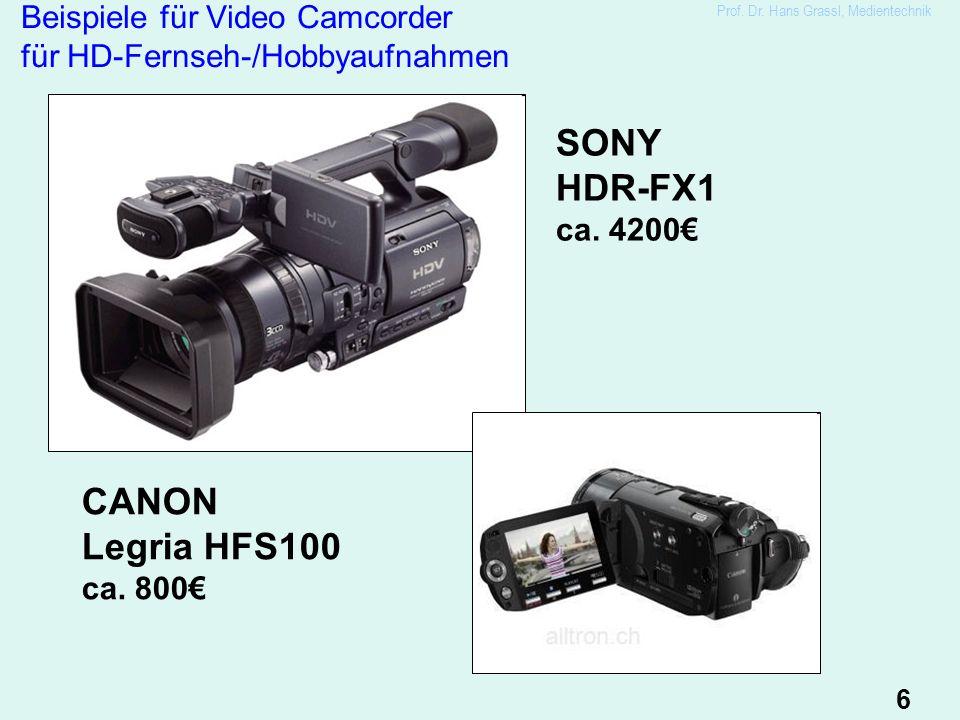 6 Beispiele für Video Camcorder für HD-Fernseh-/Hobbyaufnahmen SONY HDR-FX1 ca.