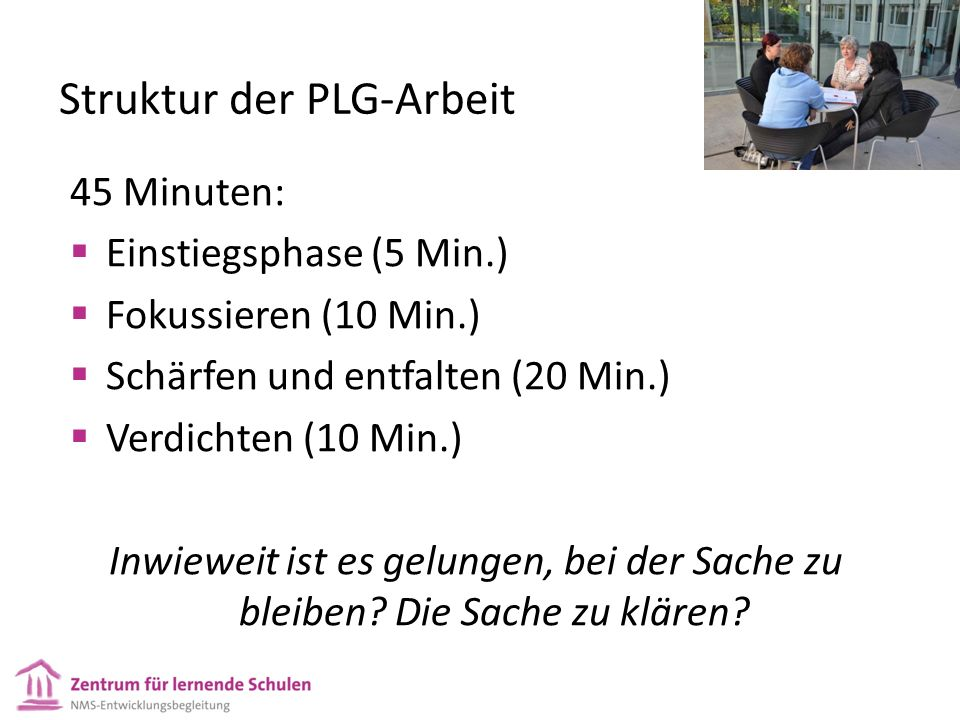 Struktur der PLG-Arbeit 45 Minuten:  Einstiegsphase (5 Min.)  Fokussieren (10 Min.)  Schärfen und entfalten (20 Min.)  Verdichten (10 Min.) Inwieweit ist es gelungen, bei der Sache zu bleiben.