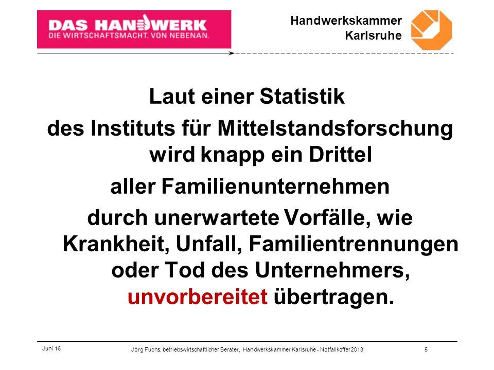 Handwerkskammer Karlsruhe Juni 16 Handwerkskammer Karlsruhe - Die Kammer des Handwerks Jörg Fuchs betriebswirtschaftlicher Berater Tel.