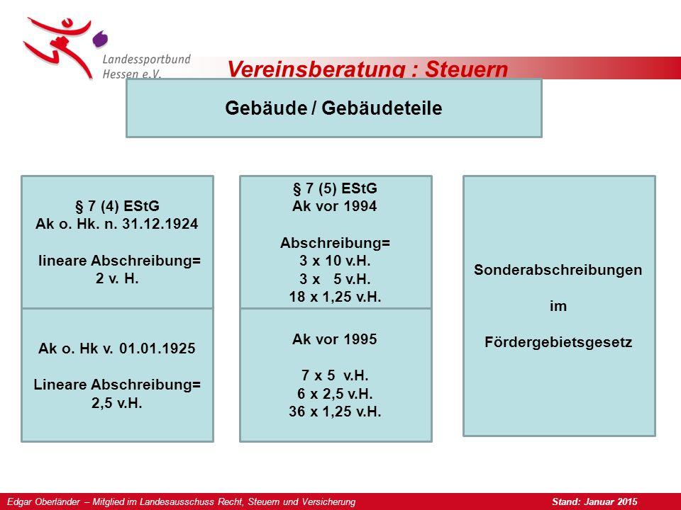 Vereinsberatung : Steuern Gebäude / Gebäudeteile § 7 (4) EStG Ak o. Hk. n. 31.12.1924 lineare Abschreibung= 2 v. H. § 7 (5) EStG Ak vor 1994 Abschreib