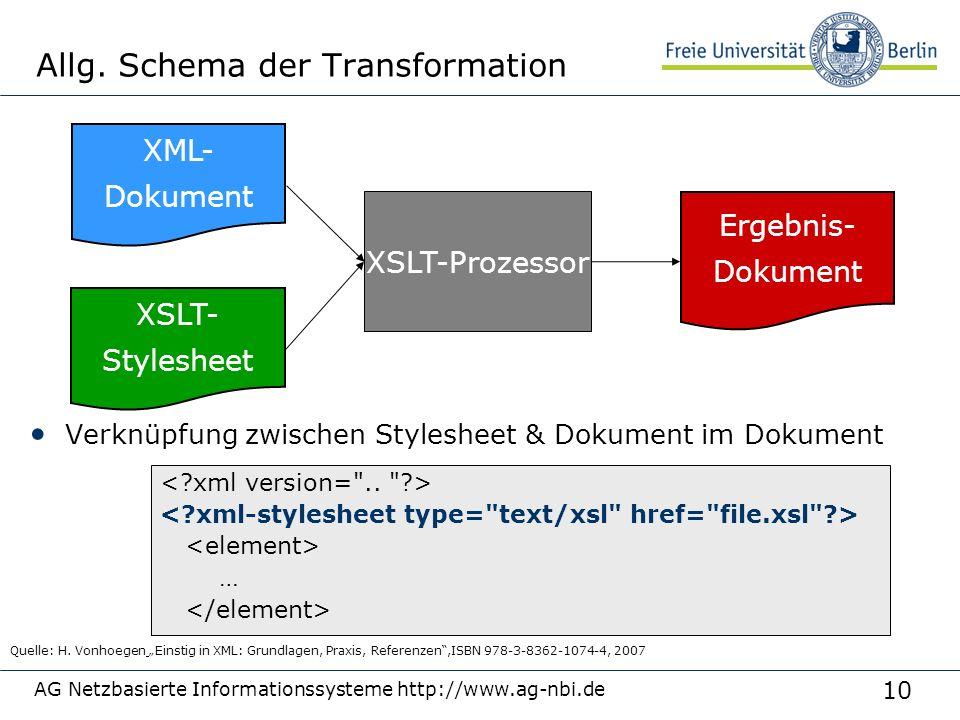 10 AG Netzbasierte Informationssysteme http://www.ag-nbi.de Allg. Schema der Transformation XML- Dokument XSLT- Stylesheet XSLT-Prozessor Ergebnis- Do
