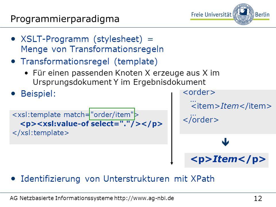 12 Programmierparadigma XSLT-Programm (stylesheet) = Menge von Transformationsregeln Transformationsregel (template) Für einen passenden Knoten X erze
