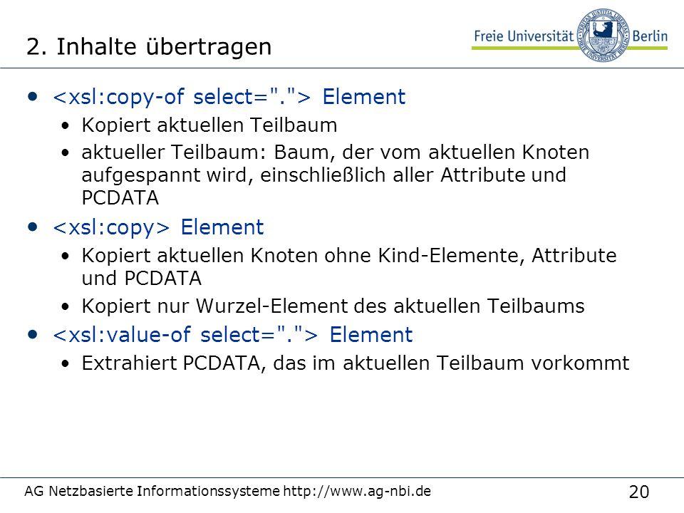 20 2. Inhalte übertragen Element Kopiert aktuellen Teilbaum aktueller Teilbaum: Baum, der vom aktuellen Knoten aufgespannt wird, einschließlich aller