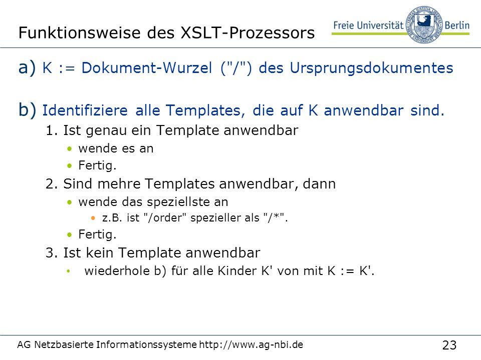 23 Funktionsweise des XSLT-Prozessors a) K := Dokument-Wurzel (