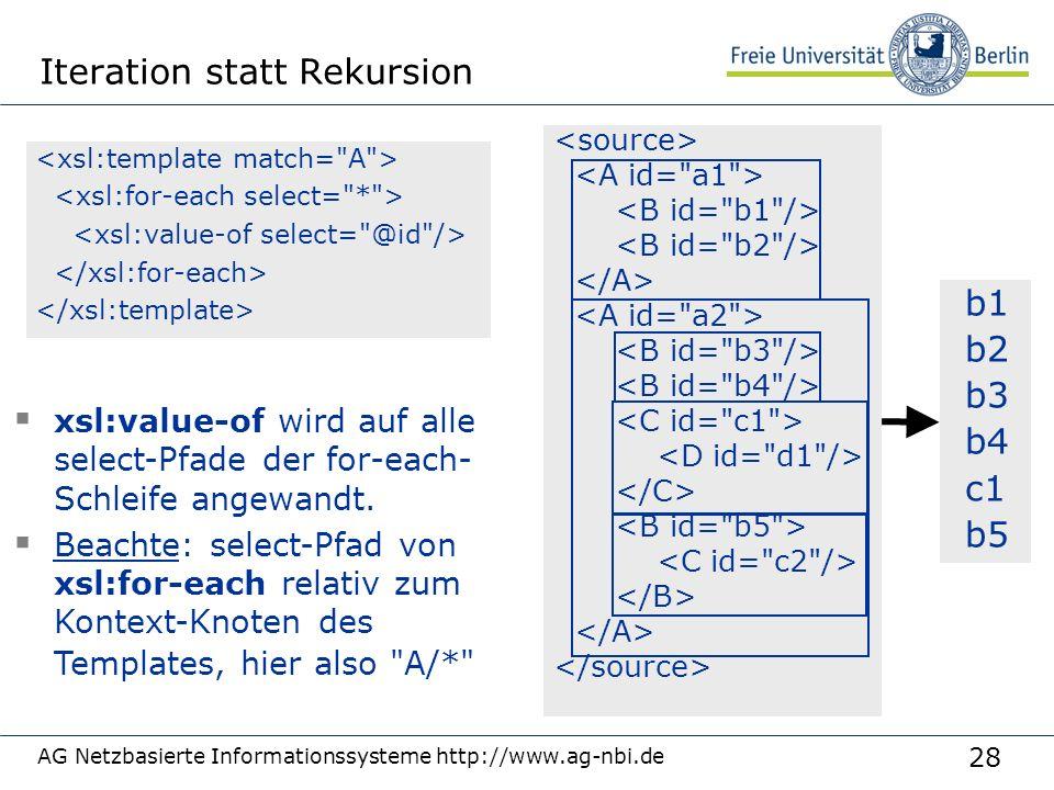 28 AG Netzbasierte Informationssysteme http://www.ag-nbi.de Iteration statt Rekursion b1 b2 b3 b4 c1 b5  xsl:value-of wird auf alle select-Pfade der