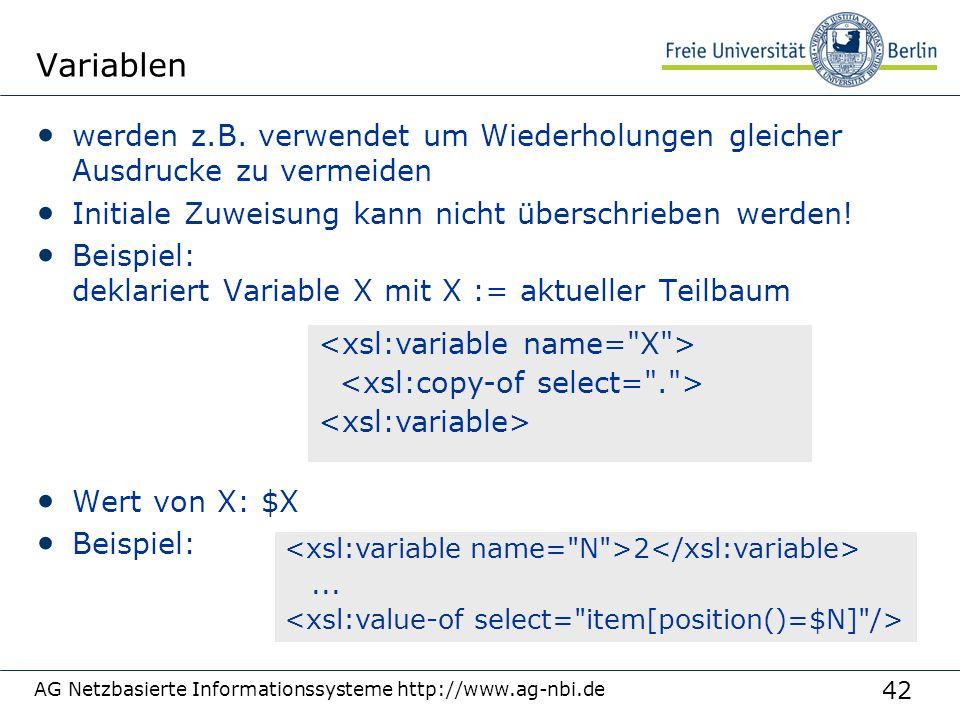 42 Variablen werden z.B. verwendet um Wiederholungen gleicher Ausdrucke zu vermeiden Initiale Zuweisung kann nicht überschrieben werden! Beispiel: dek