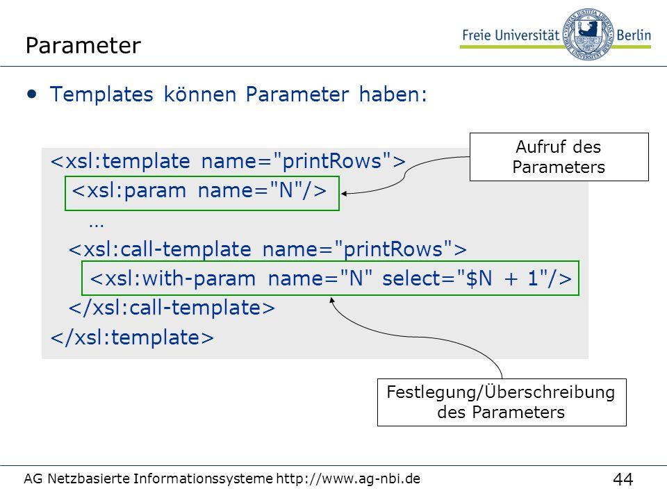 44 Parameter Templates können Parameter haben: AG Netzbasierte Informationssysteme http://www.ag-nbi.de … Festlegung/Überschreibung des Parameters Auf