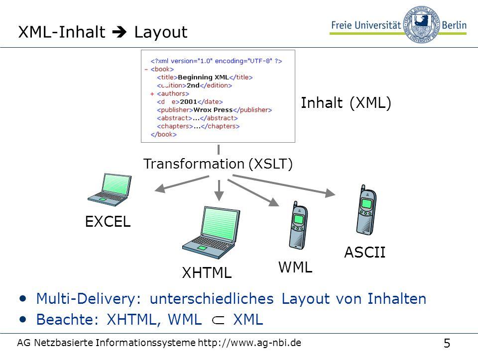 5 XML-Inhalt  Layout Multi-Delivery: unterschiedliches Layout von Inhalten Beachte: XHTML, WML XML AG Netzbasierte Informationssysteme http://www.ag-