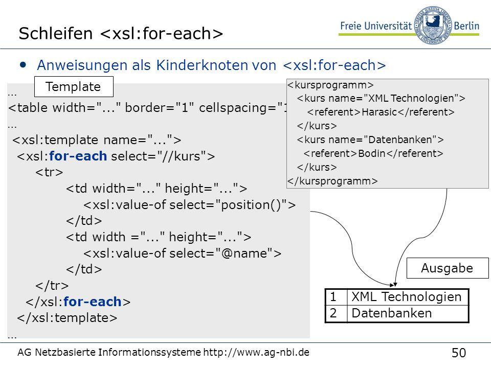 50 AG Netzbasierte Informationssysteme http://www.ag-nbi.de Schleifen Anweisungen als Kinderknoten von … … … 1 XML Technologien 2 Datenbanken Harasic