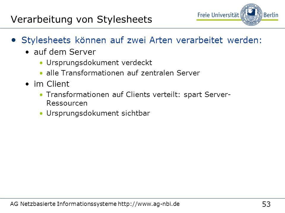 53 Verarbeitung von Stylesheets Stylesheets können auf zwei Arten verarbeitet werden: auf dem Server Ursprungsdokument verdeckt alle Transformationen