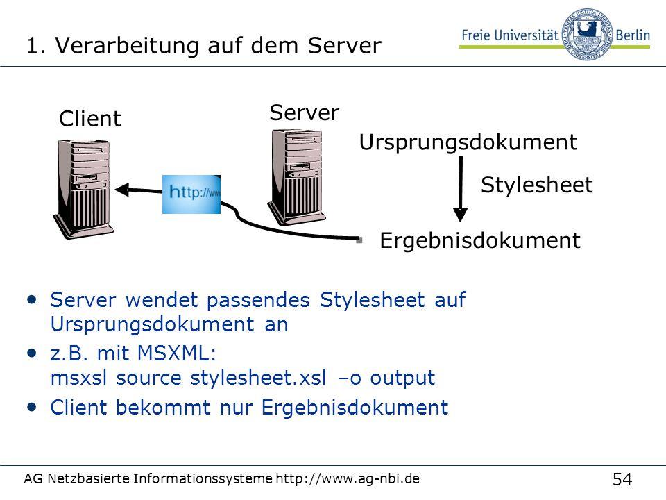 54 1. Verarbeitung auf dem Server Server wendet passendes Stylesheet auf Ursprungsdokument an z.B. mit MSXML: msxsl source stylesheet.xsl –o output Cl