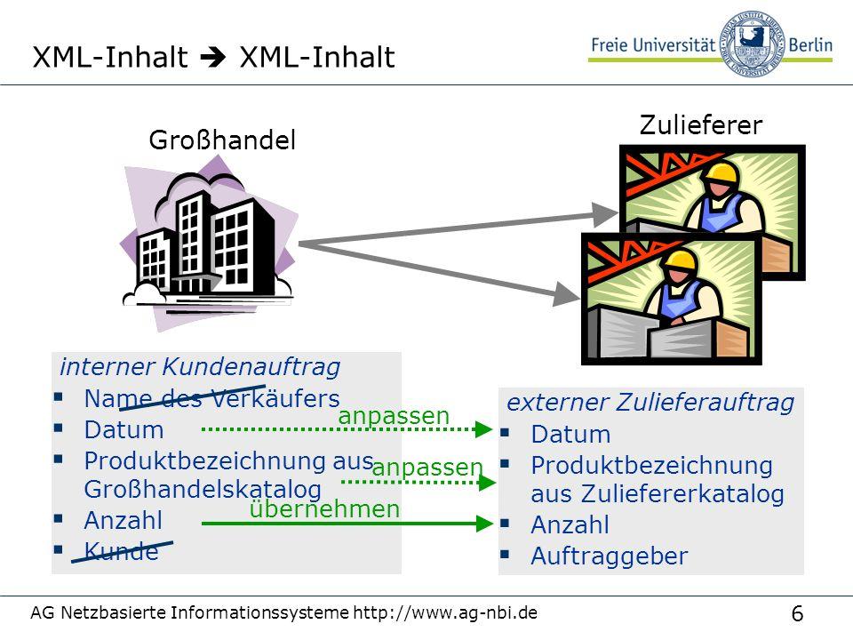 6 AG Netzbasierte Informationssysteme http://www.ag-nbi.de XML-Inhalt  XML-Inhalt Zulieferer Großhandel interner Kundenauftrag  Name des Verkäufers