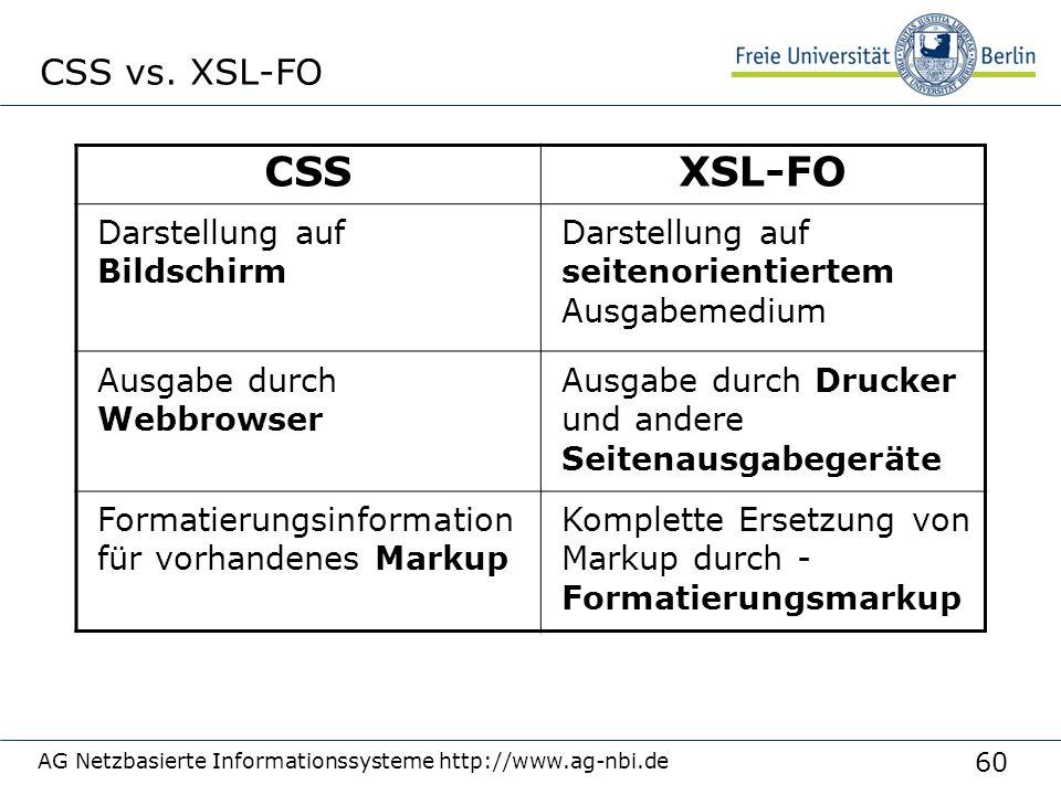 60 AG Netzbasierte Informationssysteme http://www.ag-nbi.de CSS vs. XSL-FO CSSXSL-FO Darstellung auf Bildschirm Darstellung auf seitenorientiertem Aus